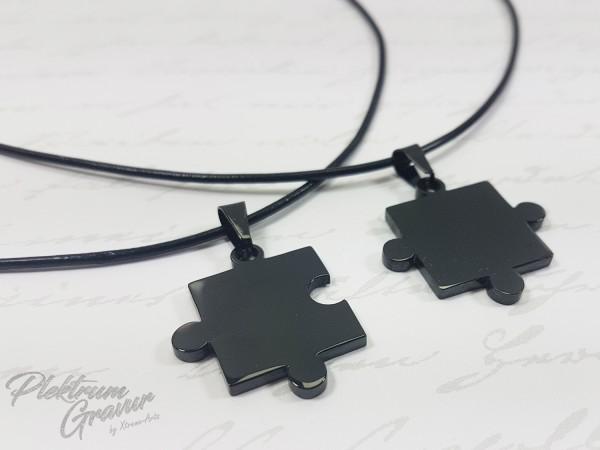 Puzzleteile Schwarz 2 Stk 22x22mm mit Textgravur