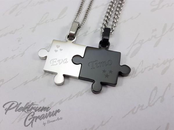 Puzzleteile 2 Stk 17x17mm mit Textgravur